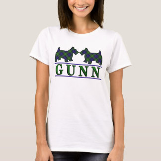 Clan Gunn Tartan Scottie Dogs T-Shirt