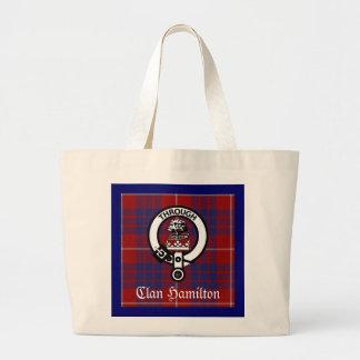 Clan Hamilton Crest & Tartan Large Tote Bag
