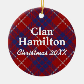Clan Hamilton Scottish Tartan Round Ceramic Ornament