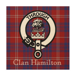 Clan Hamilton Tartan and Crest Badge Wood Canvas