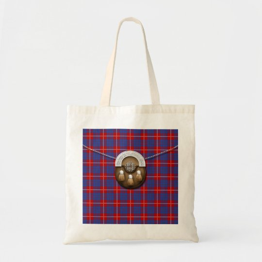 Clan Hamilton Tartan And Sporran Tote Bag
