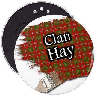 Clan Hay Tartan Paint Brush 6 Inch Round Button