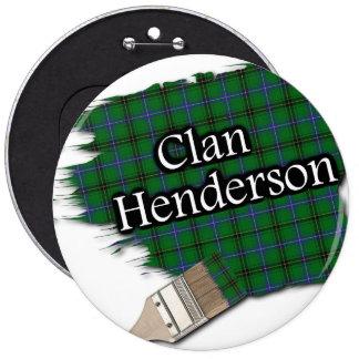 Clan Henderson Tartan Paint Brush 6 Inch Round Button
