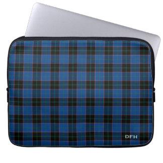 Clan Hume Tartan Blue and Black Plaid Monogram Laptop Sleeve