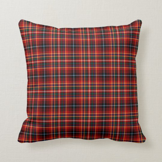 Clan Innes Red, Black and Yellow Tartan Throw Pillow