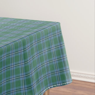 Clan Irvine Tartan Light Blue and Green Plaid Tablecloth