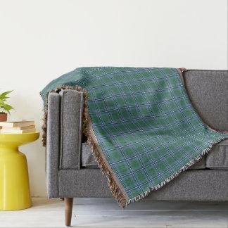 Clan Irvine Tartan Light Blue and Green Plaid Throw Blanket