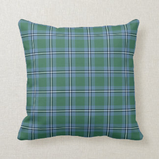 Clan Irvine Tartan Light Blue and Green Plaid Throw Pillow