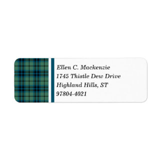Clan Keith Green and Blue Ancient Scottish Tartan Return Address Label
