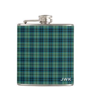 Clan Keith Light Green Scottish Tartan Monogram Hip Flask