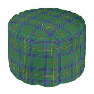 Clan Kennedy Scottish Style Blue Green Tartan Pouf