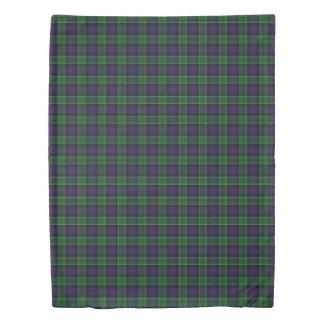 Clan Leslie Scottish Accents Blue Green Tartan Duvet Cover