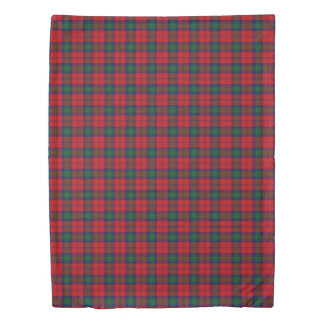 Clan Lindsay Scottish Accents Red Green Tartan Duvet Cover