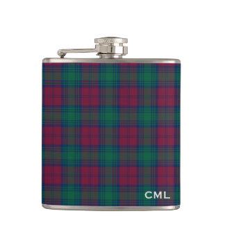 Clan Lindsay Tartan Monogrammed Hip Flask
