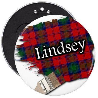 Clan Lindsey Lindsay Tartan Paint Brush 6 Inch Round Button