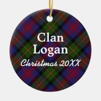 Clan Logan Scottish Tartan Ceramic Ornament