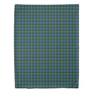 Clan Lyon Scottish Accents Blue Green Tartan Duvet Cover