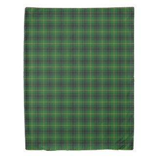 Clan MacArthur Scottish Accents Green Black Tartan Duvet Cover