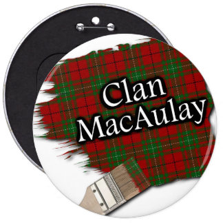Clan MacAulay Tartan Paint Brush 6 Inch Round Button