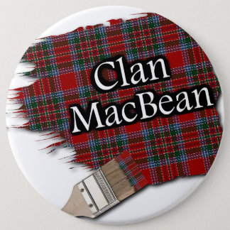 Clan MacBean Tartan Paint Brush 6 Inch Round Button