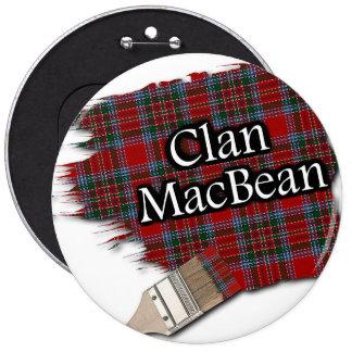 Clan MacBean Tartan Paint Brush 6 Inch Round Button