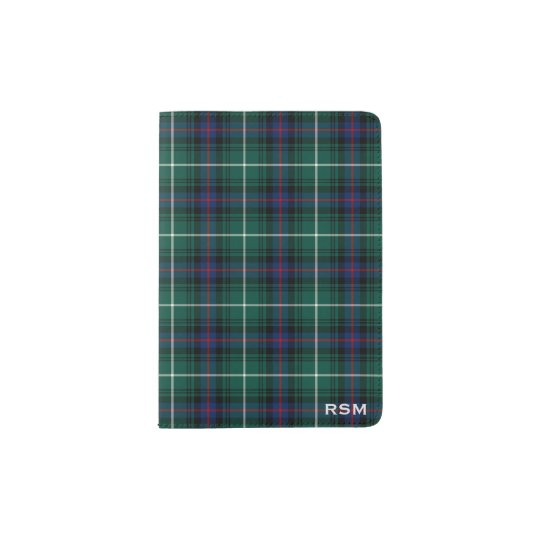 Clan MacDonald Dark Blue and Green Tartan Monogram Passport Holder