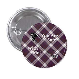 "Clan MacDonald Dress Tartan ""You Are Safe With Me! 1 Inch Round Button"