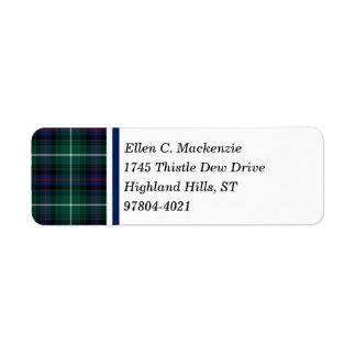 Clan MacDonald Tartan Return Address Labels
