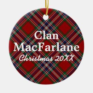 Clan MacFarlane Scottish Tartan Ceramic Ornament