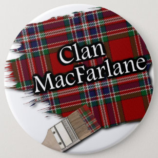 Clan MacFarlane Tartan Paint Brush 6 Inch Round Button