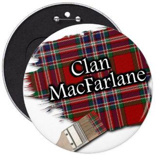 Clan MacFarlane Tartan Paint Brush 6 Inch Round Button