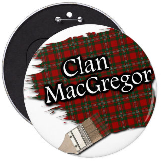 Clan MacGregor Tartan Paint Brush 6 Inch Round Button