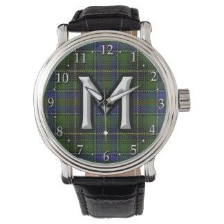 Clan MacInnes Letter M Monogram Tartan Watch
