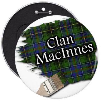 Clan MacInnes Tartan Paint Brush 6 Inch Round Button