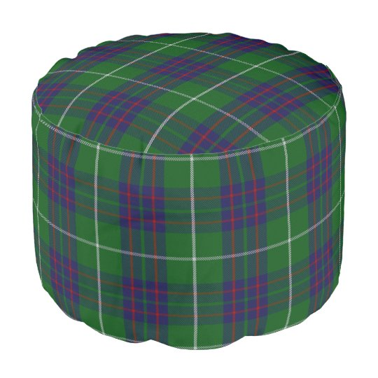 Clan MacIntyre Scottish Style Blue Green Tartan Pouf