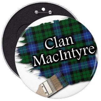 Clan MacIntyre Tartan Paint Brush 6 Inch Round Button