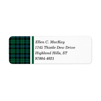 Clan MacKay Green and Blue Scottish Tartan Return Address Label
