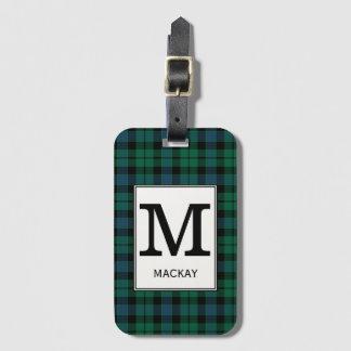 Clan MacKay Tartan Monogrammed Luggage Tag