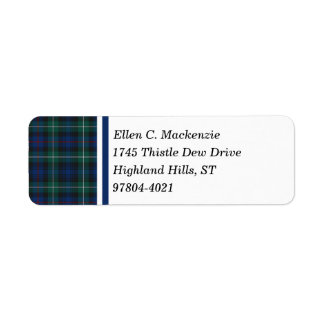 Clan Mackenzie Dark Blue and Green Scottish Tartan Return Address Label