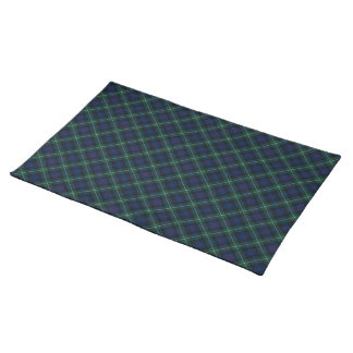 Clan Mackenzie Tartan Dark Blue and Green Plaid Placemat