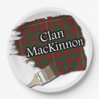 Clan MacKinnon Scottish Tartan Paint Brush Paper Plate