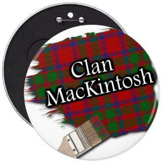 Clan MacKintosh Tartan Paint Brush 6 Inch Round Button