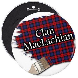 Clan MacLachlan Tartan Paint Brush 6 Inch Round Button