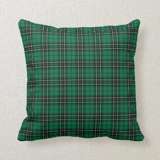 Clan MacLean Hunting Tartan Bright Green Plaid Throw Pillow