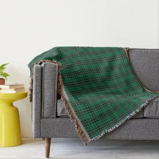 Clan MacLean Hunting Tartan Green and Black Plaid Throw Blanket