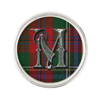 Clan MacLean Plaid Monogram A Lapel Pin