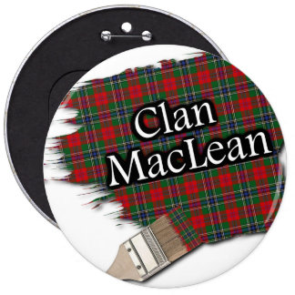 Clan MacLean Tartan Paint Brush 6 Inch Round Button