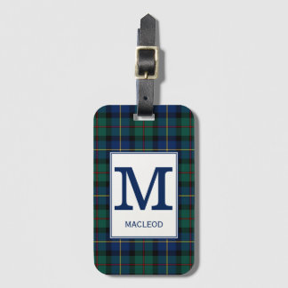 Clan MacLeod of Skye Tartan Monogrammed Luggage Tag