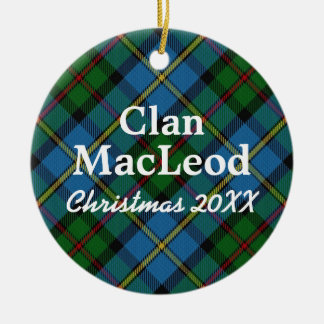 Clan MacLeod Scottish Blue and Green Tartan Ceramic Ornament