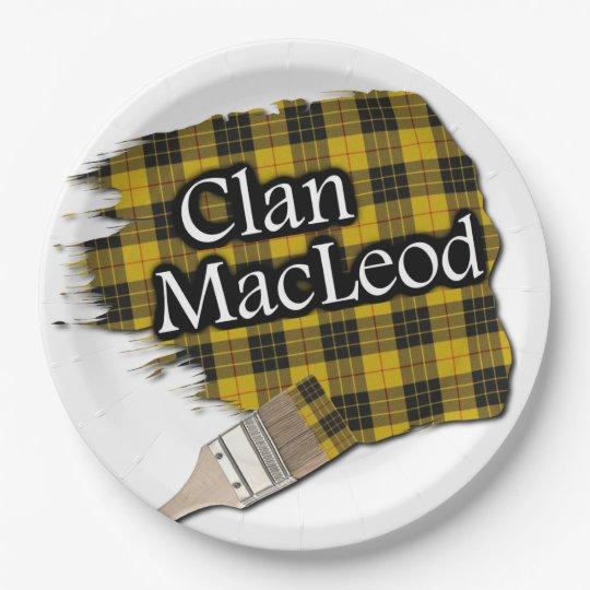 Clan MacLeod Scottish Tartan Paint Brush 9 Inch Paper Plate